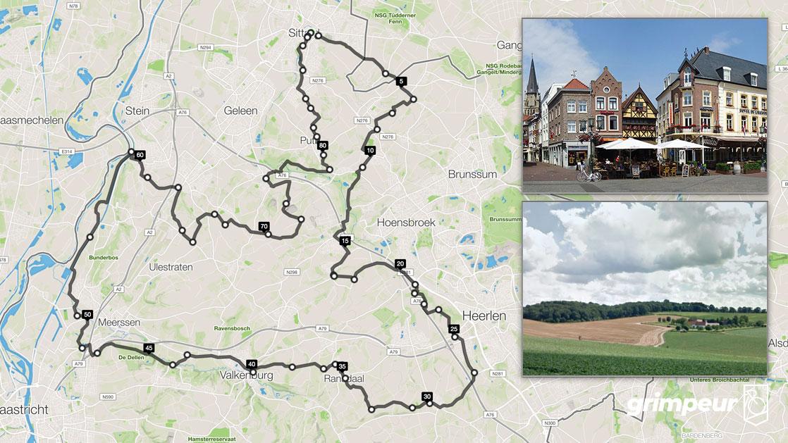 Vlakke Route Zuid-Limburg. Startplek Sittard. 86km 770hm